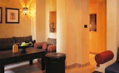 Bab Al Shams Desert Resort and Spa Dubai living room with sofas and coffee table