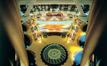 Burj Al Arab Dubai atrium with panoramic views and fountains