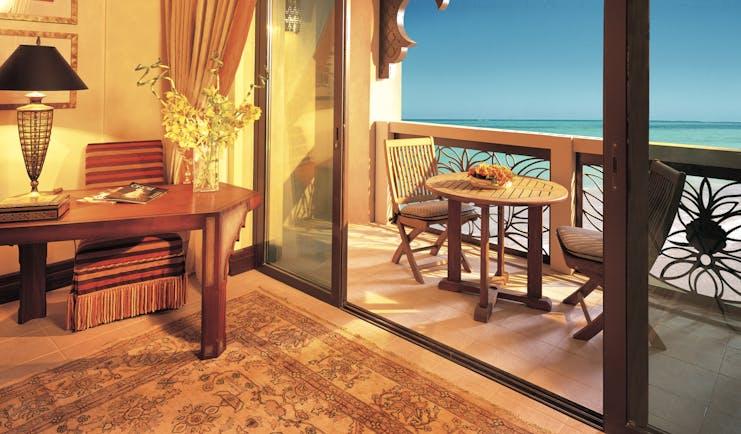 Madinat Jumeirah Dubai Al Qasr Ocean deluxe bedroom with balcony and sea view