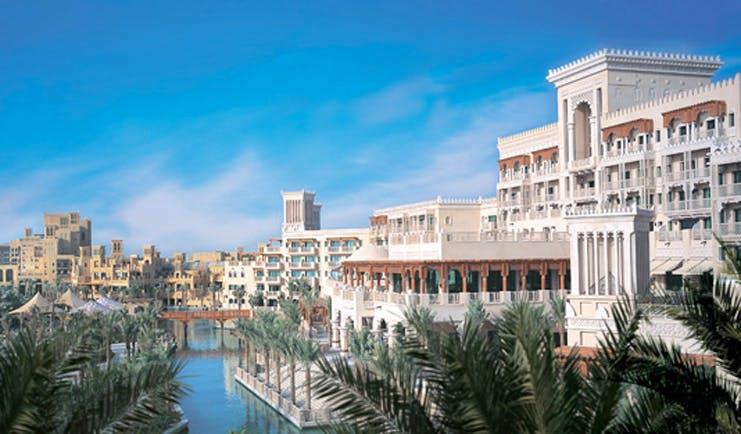 Madinat Jumeirah Dubai exterior building with balconies and view of Burj Al Arab