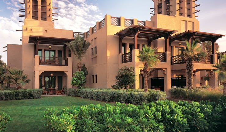 Madinat Jumeirah Dubai villa exterior building with balconies and traditional Arabic architecture