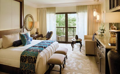 One and Only Royal Mirage Dubai superior deluxe bedroom with sofa desk and balcony