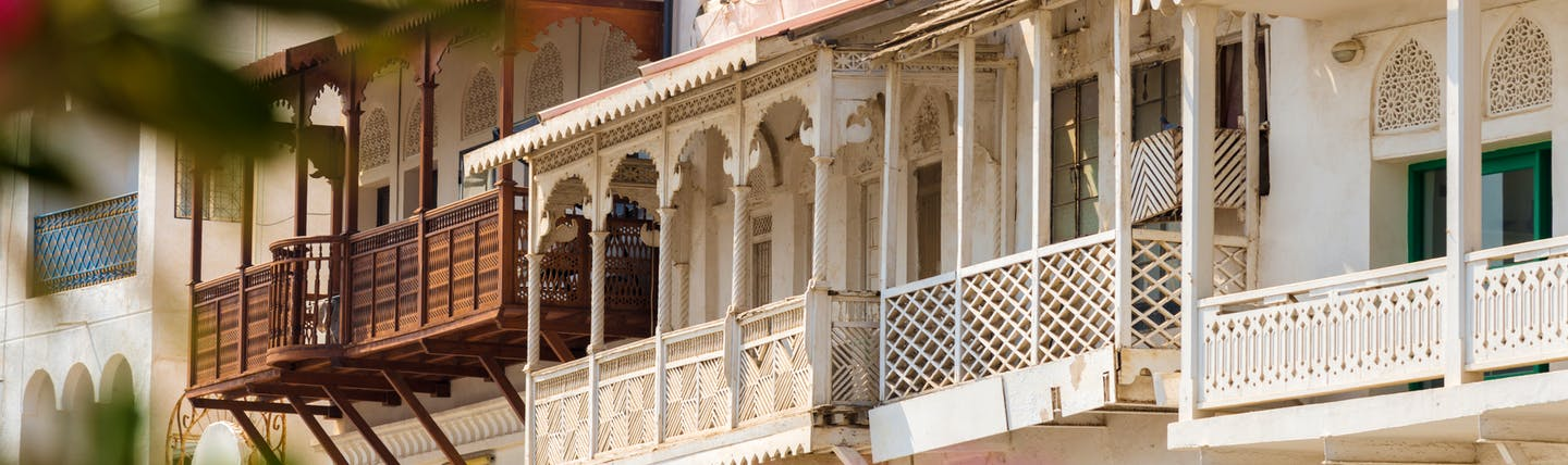 Balconies in traditional Arabian style in Oman
