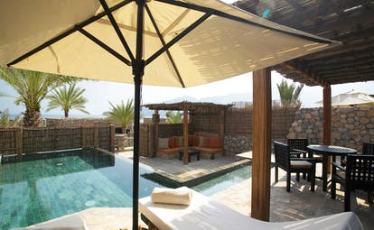 Six Senses Zighy Bay Oman villa pool with covered patio and loungers