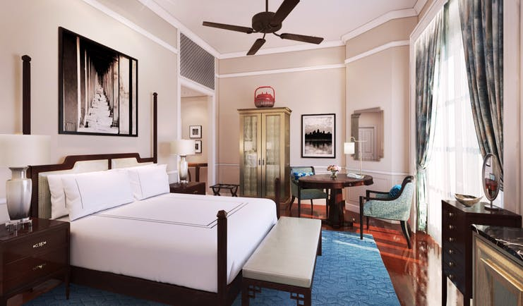 Raffles d'Angkor landmark room, double bed, elegant decor with colonial style