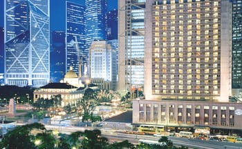 Mandarin Oriental Hong Kong exterior skyscrapers city roads cars