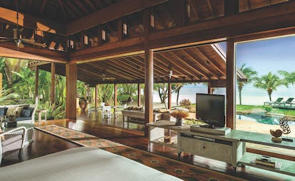 Four Seasons Langkawi Malaysia family beach villa interior living room private pool overlooking beach