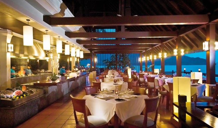Pangkor Laut Malaysia restaurant Fisherman's Cove modern décor overlooking the sea