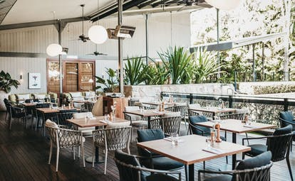 The Byron at Byron New South Wales restaurant covered outdoor dining area with trees