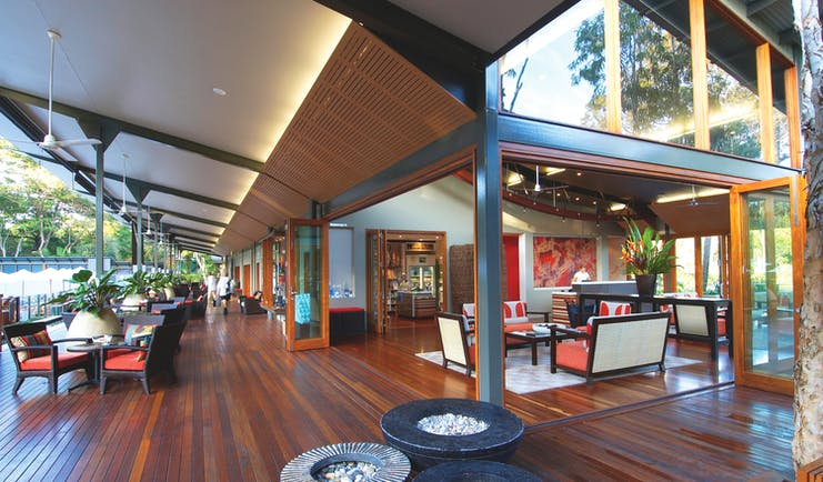 The Byron at Byron New South Wales veranda reception area and covered seating area