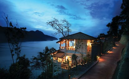 The Andaman Langkawi Malaysia spa exterior at night building overlooking sea
