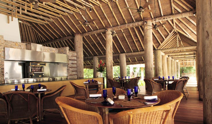 The Datai Malaysia beach bar indoor seating area thatched architecture