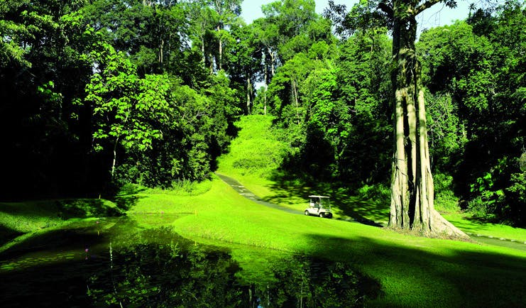 The Datai Malaysia golf course golf buggy lawns trees greenery