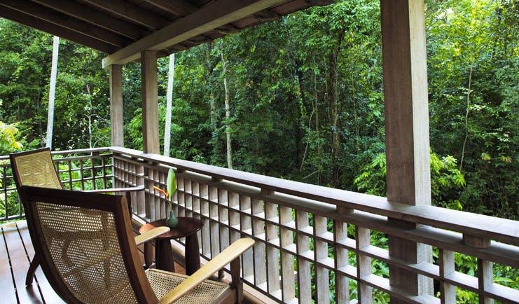 The Datai Malaysia villa balcony chairs overlooking rainforest