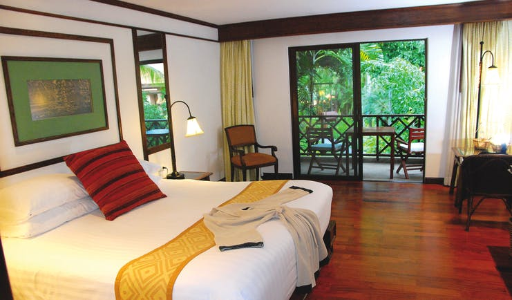 Anantara Hua Hin Thailand deluxe garden view guestroom bed access to private terrace modern décor
