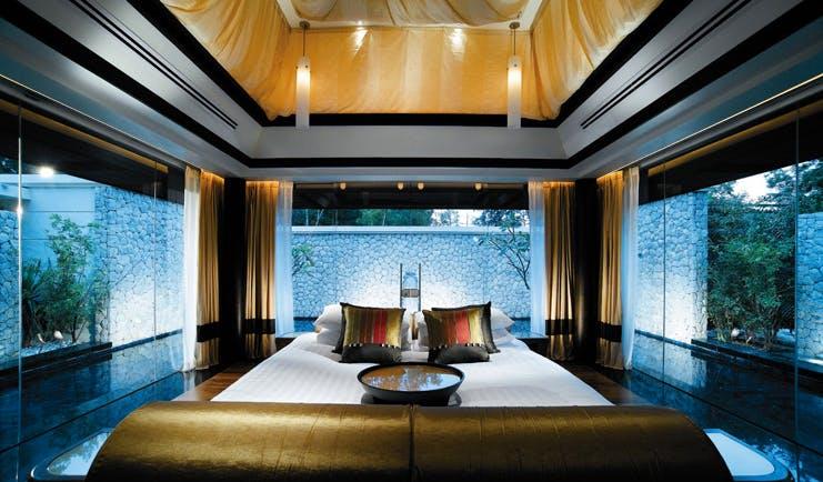 Banyan Tree Phuket Thailand double pool villa panoramic windows bedroom modern decor