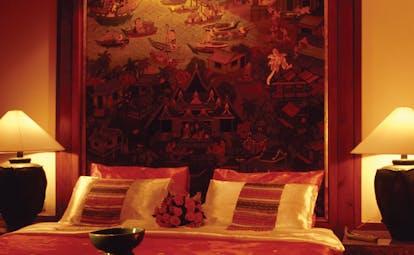 Banyan Tree Phuket Thailand villa bedroom traditional Asian artwork on the wall
