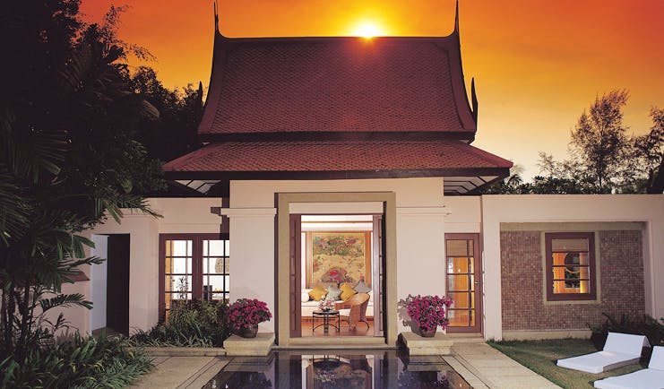Banyan Tree Phuket Thailand villa private pool bungalow traditional Thai architecture pool loungers bedroom view