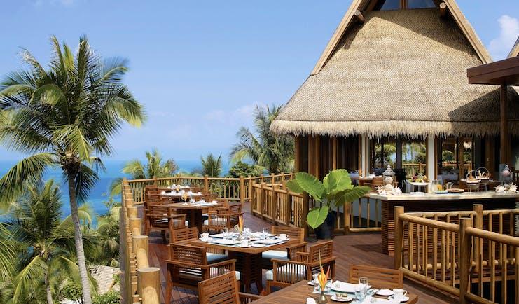 Four Seasons Koh Samui Thailand dining terrace overlooking beach