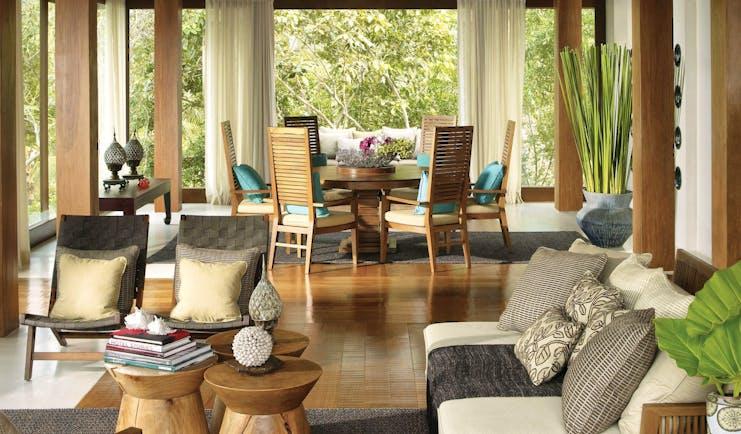 Four Seasons Koh Samui Thailand sofa dining table armchairs modern décor