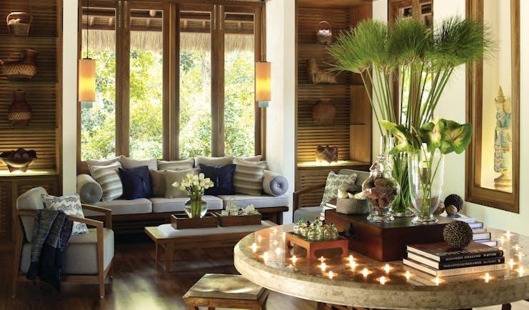 Four Seasons Koh Samui Thailand villa lounge sofa chair table elegant décor