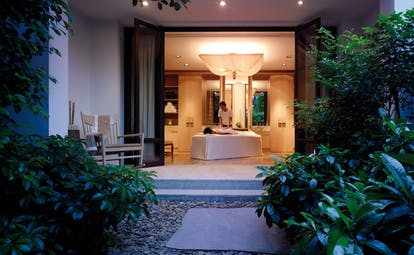 Grand Hyatt Erawan Bangkok Thailand spa treatment room from garden
