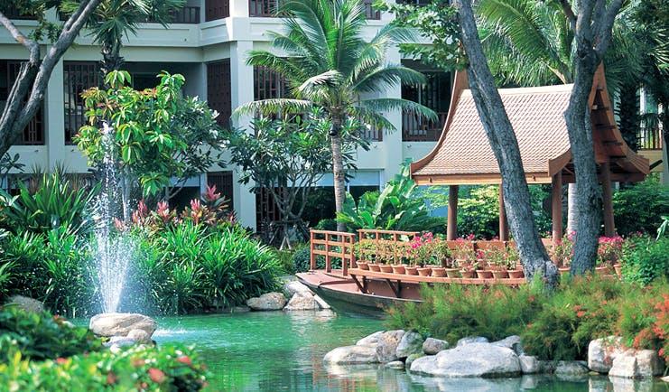 Hyatt Regency Hua Hin Thailand boat lagoon pond gardens pagoda