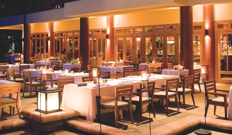 Hyatt Regency Hua Hin Thailand restaurant at night indoor and outdoor dining