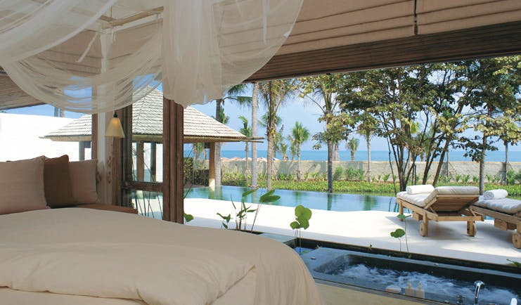 Six Senses Hua Hin Thailand pool villa suite bedroom bath outdoor pool loungers ocean view