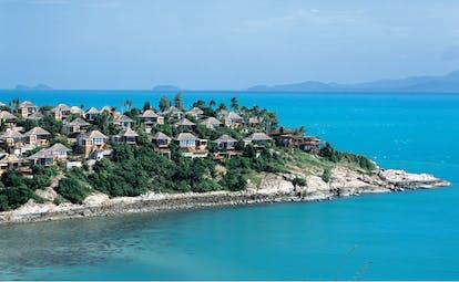 Six Senses Samui Thailand aerial view of villas on an island