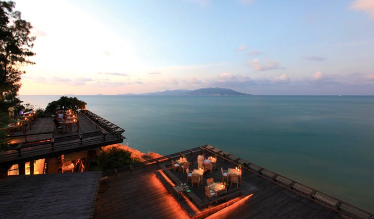 Six Senses Samui Thailand Dining on the Rocks rooftop dining ocean view