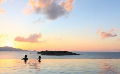 Six Senses Samui Thailand infinity pool ocean view sunset island view