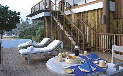 Six Senses Samui Thailand pool villa deck outdoor dining sun loungers plunge pool