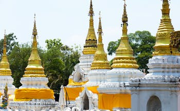 Pagodas in the temple Wat Jedee Sound in Thailand