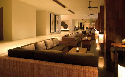 The Dhara Devi Thailand lobby lounge sofas minimalist decor