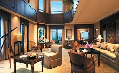 The Peninsula Bangkok Thailand duplex suite lounge sofas panoramic views