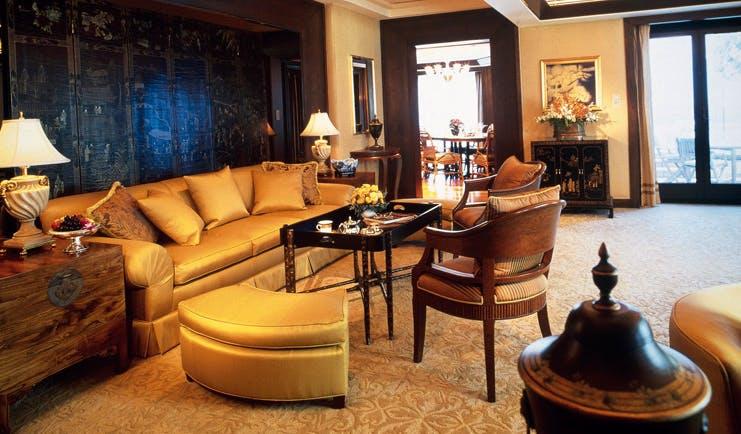 The Peninsula Bangkok Thailand lounge suite lounge area sofas city view
