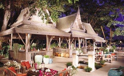 The Peninsula Bangkok Thailand outdoor terrace outdoor dining area Thai pavilion pagoda