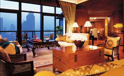 The Peninsula Bangkok Thailand peninsula suite lounge classic decor panoramic city view