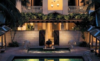 The Peninsula Bangkok Thailand spa exterior modern artwork outdoor pool cabanas