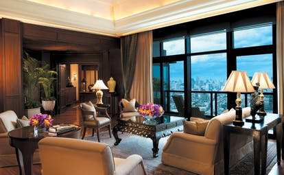 The Peninsula Bangkok Thailand suite lounge area with city views