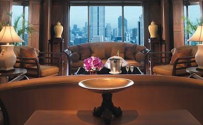 The Peninsula Bangkok Thailand Thai suite lounge sofas panoramic city views