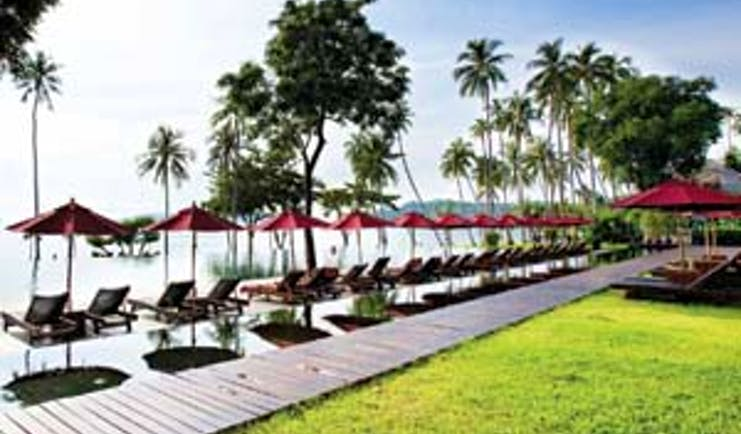 Vijitt Resort Thailand poolside sun loungers umbrellas lawns infinity pool overlooking sea