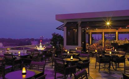 Caravelle Hotel Vietnam Saigon rooftop bar outdoor terrace area city views