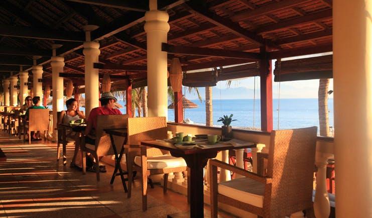 Evason Ana Mandara Resort Vietnam Ana pavilion covered dining area ocean view