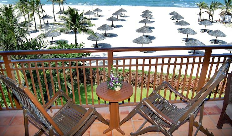 Furama Resort Vietnam ocean balcony outdoor private seating area overlooking beach