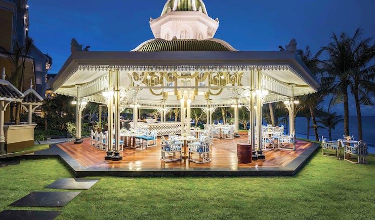 JW Marriott Phu Quoc Vietnam beach bar at night covered terrace bar overlooking beach