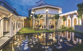 JW Marriott Phu Quoc Vietnam reception area buildings lawns water feature