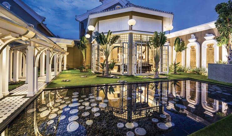 JW Marriott Phu Quoc Vietnam reception area buildings lawns water feature