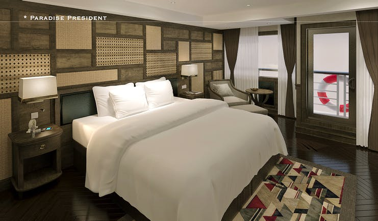 President Cruise bedroom, double bed, modern decor